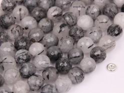 Black Rutilated Quartz beads 10mm faceted(2)