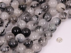 Black Rutilated Quartz beads 10mm smooth(2)