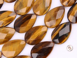 Yellow Tiger Eye AB tear drop 22x30mm faceted(2)