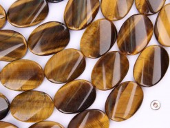 Yellow Tiger Eye AB twisted oval 18x25mm smooth(2)